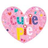 Progettazione di iscrizione a forma di del cuore della torta di Cutie illustrazione di stock