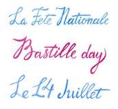 Progettazione di iscrizione di saluto di giorno di Bastille Manda un sms al ` quattordicesimo del ` francese di festa nazionale d royalty illustrazione gratis