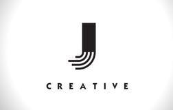 Progettazione di J Logo Letter With Black Lines Linea vettore Illust della lettera Fotografia Stock Libera da Diritti
