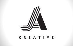 Progettazione di JA Logo Letter With Black Lines Linea vettore Illus della lettera Royalty Illustrazione gratis