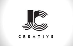 Progettazione di JC Logo Letter With Black Lines Linea vettore Illus della lettera Immagine Stock Libera da Diritti