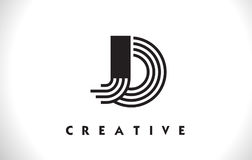 Progettazione di JO Logo Letter With Black Lines Linea vettore Illus della lettera Fotografie Stock