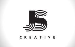 Progettazione di JS Logo Letter With Black Lines Linea vettore Illus della lettera Fotografie Stock
