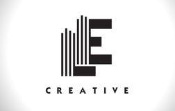 Progettazione di LE Logo Letter With Black Lines Linea vettore Illus della lettera Fotografia Stock Libera da Diritti