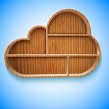 Progettazione di legno degli scaffali e dello scaffale della nuvola Immagini Stock Libere da Diritti