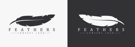Progettazione di logo con il nome di società e della piuma, per uno scrittore Fotografie Stock Libere da Diritti