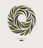Progettazione di logo dai petali, foglie, forma rotonda astratta Immagini Stock
