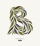 Progettazione di logo dai petali, foglie, lettera astratta B Fotografie Stock
