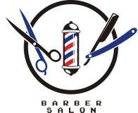 Progettazione di logo del barbiere illustrazione di stock