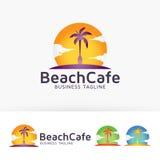 Progettazione di logo del caffè della spiaggia Fotografia Stock Libera da Diritti