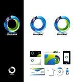 Progettazione di logo del cerchio di affari corporativi 3d Immagini Stock