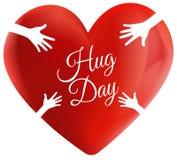 Progettazione di logo del cuore dell'abbraccio di amore illustrazione vettoriale