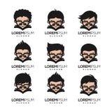 Progettazione di logo del nerd del geek pronta per l'uso illustrazione di stock