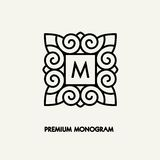 Progettazione di logo del quadrato di vettore del modello e concetto concettuali del monogramma Fotografie Stock Libere da Diritti