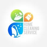 Progettazione di logo dell'azienda di servizi di pulizia, concetto amichevole di Eco per l'interno, casa e costruzione Immagine Stock Libera da Diritti