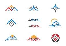 Progettazione di logo della costruzione e della proprietà Immagini Stock