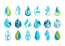 Progettazione di logo della goccia di acqua Fotografie Stock