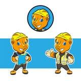 Progettazione di logo della mascotte di conctruction della donnola illustrazione vettoriale