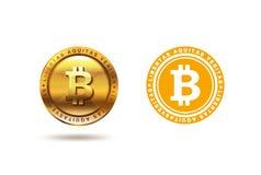 Progettazione di logo della moneta di Bitcoin dell'oro Logotype di Fintech Blockchain piano Fotografia Stock