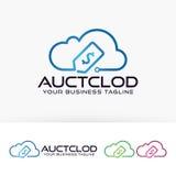 Progettazione di logo della nuvola dell'asta Immagini Stock Libere da Diritti
