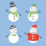Progettazione di logo di Buon Natale marchio Insieme del fumetto del pupazzo di neve Fotografia Stock Libera da Diritti