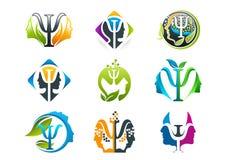 Progettazione di logo di concetto di psicologia Fotografia Stock