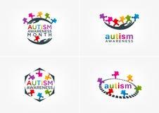 Progettazione di logo di consapevolezza di autismo Fotografia Stock Libera da Diritti