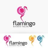 Progettazione di logo di vettore del fenicottero di Digital Immagini Stock