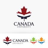 Progettazione di logo di vettore dell'università del Canada Immagini Stock