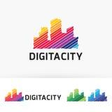 Progettazione di logo di vettore della città di Digital Fotografie Stock