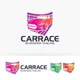 Progettazione di logo di vettore della corsa di automobile Fotografie Stock