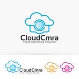 Progettazione di logo di vettore della macchina fotografica della nuvola Fotografia Stock Libera da Diritti