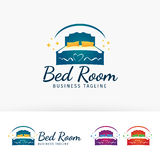 Progettazione di logo di vettore della mobilia della camera da letto Fotografia Stock Libera da Diritti