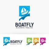 Progettazione di logo di vettore della mosca della barca Fotografie Stock Libere da Diritti
