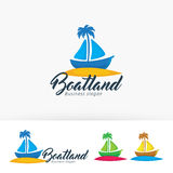 Progettazione di logo di vettore della terra della barca Immagine Stock Libera da Diritti