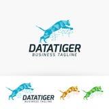 Progettazione di logo di vettore della tigre di dati Immagini Stock