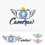 Progettazione di logo di vettore delle ali della macchina fotografica Fotografie Stock