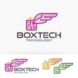 Progettazione di logo di vettore delle ali della scatola Immagini Stock