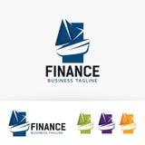 Progettazione di logo di vettore di finanza della barca Fotografia Stock