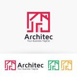 Progettazione di logo di vettore di House dell'architetto Fotografia Stock Libera da Diritti