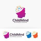 Progettazione di logo di vettore di mente del bambino Fotografie Stock