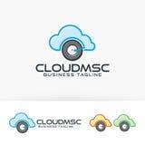 Progettazione di logo di vettore di musica della nuvola Fotografie Stock Libere da Diritti