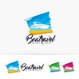 Progettazione di logo di vettore di viaggio della barca Fotografia Stock