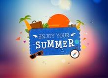 Progettazione di logo di viaggio di estate Fotografia Stock