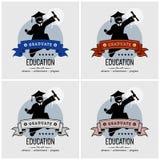 Progettazione di logo di graduazione dello studente illustrazione vettoriale