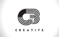 Progettazione di Logo Letter With Black Lines dei CB Linea vettore Illus della lettera Immagini Stock Libere da Diritti