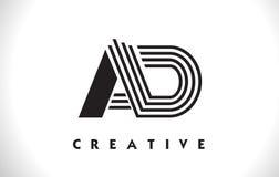 Progettazione di Logo Letter With Black Lines dell'ANNUNCIO Linea vettore Illus della lettera Fotografia Stock