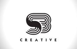 Progettazione di Logo Letter With Black Lines dello SB Linea vettore Illus della lettera Fotografia Stock