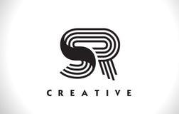 Progettazione di Logo Letter With Black Lines dello SR Linea vettore Illus della lettera Immagini Stock Libere da Diritti