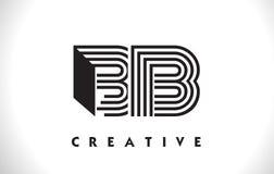 Progettazione di Logo Letter With Black Lines di BB Linea vettore Illus della lettera Fotografia Stock Libera da Diritti